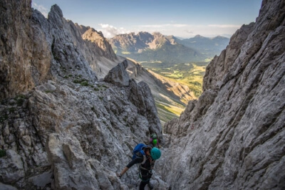 Via ferrata Passo Santner, Catinaccio group, Dolomites, South Tyrol