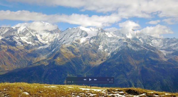 video 4k drone trail face au mont blanc